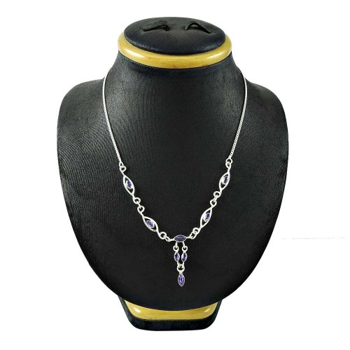Lustrous 925 Sterling Silver Amethyst Gemstone Necklace Ethnic Jewellery