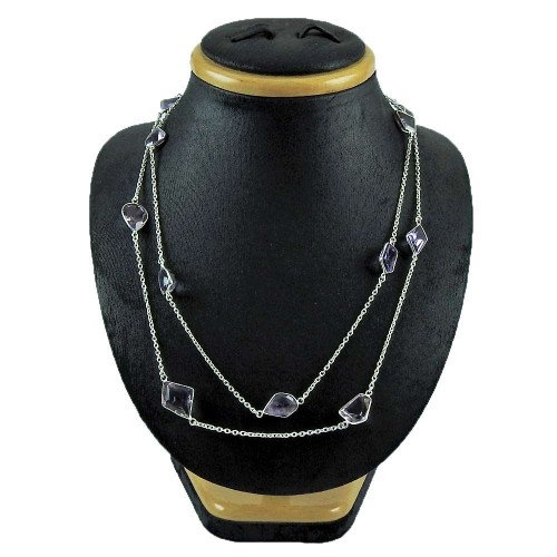 Sterling Silver Jewellery Ethnic Amethyst Gemstone Bezel Necklace Manufacturer India