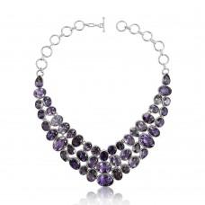 Amethyst Necklace !! Gemstone Silver Jewellery Wholesaler India