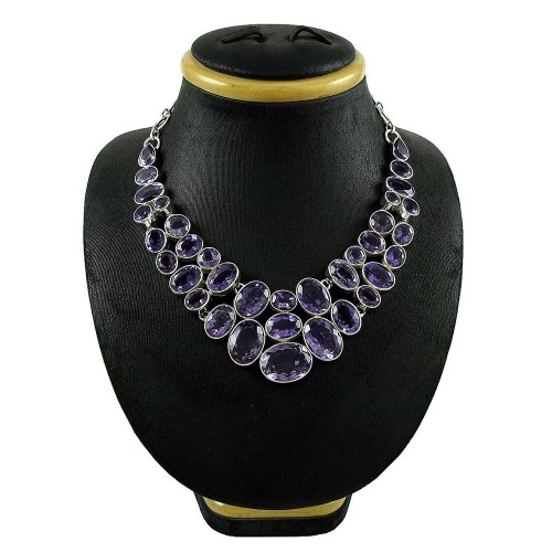 Delicate !! 925 Sterling Silver Amethyst Necklace