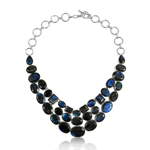 Large Fashion !! 925 Sterling Silver Labradorite Necklace