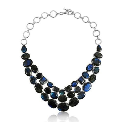 Large Fashion !! 925 Sterling Silver Labradorite Necklace