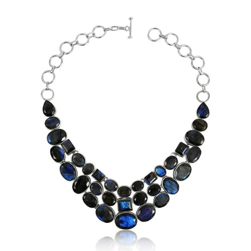Perfect !! 925 Sterling Silver Labradorite Necklace