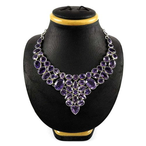 Big Inspire Bohemian 925 Sterling Silver Amethyst Necklace