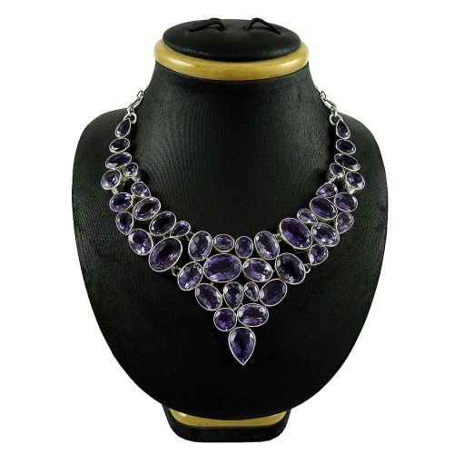 Stylish !! 925 Sterling Silver Amethyst Necklace