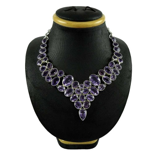 Big Natural !! 925 Sterling Silver Amethyst Necklace Wholesaling