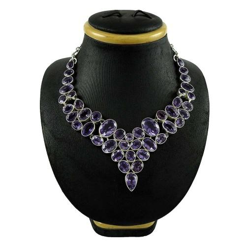 Big Natural !! 925 Sterling Silver Amethyst Necklace Wholesaling