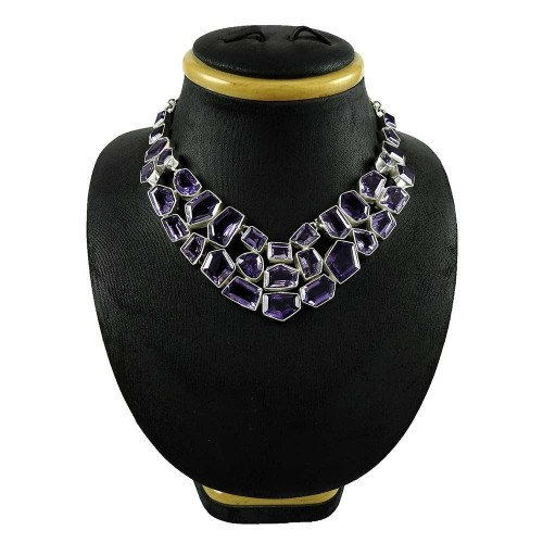 Summer Stock !! 925 Sterling Silver Amethyst Necklace