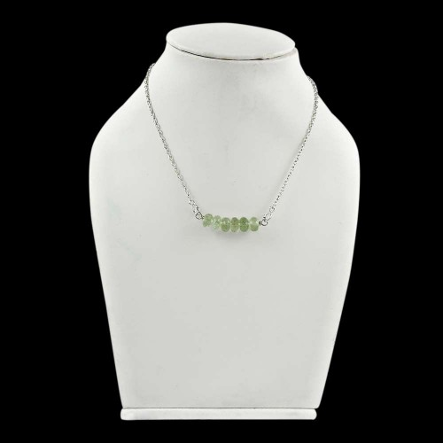 Large ! Green Amethyst Gemstone Sterling Silver Choker Necklace