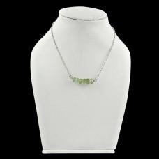 New Fashion ! Green Amethyst Gemstone Sterling Silver Choker Necklace