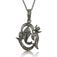 Diamond Ganesha Necklace !! 925 Sterling Silver Jewellery Necklace