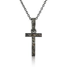 Solid 925 Sterling Silver Diamond Cross Necklace