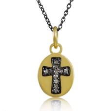 Gold Plated 925 Sterling Silver Diamond Cross Necklace Proveedor