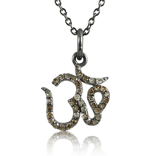 So In Love 925 Sterling Silver Diamond OM Necklace