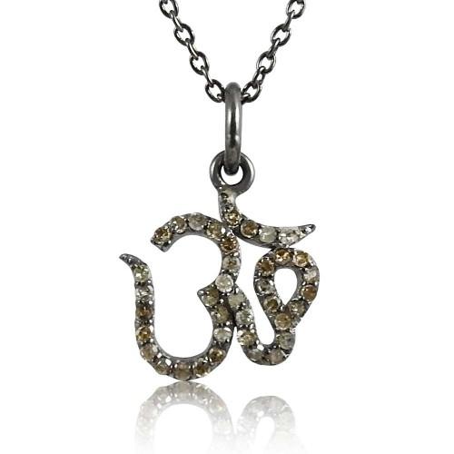 So In Love 925 Sterling Silver Diamond OM Necklace