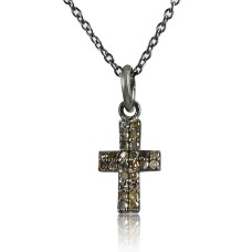 Hot Style 925 Sterling Silver Diamond Cross Necklace