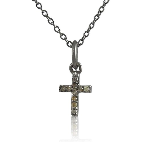 Gorgeous Design 925 Sterling Silver Diamond Cross Necklace
