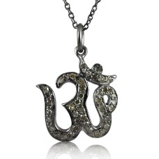 Large Fashion !! 925 Sterling Silver Diamond OM Necklace Al por mayor