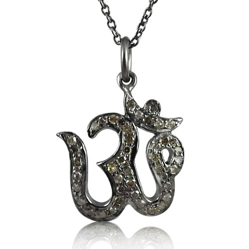 Large Fashion !! 925 Sterling Silver Diamond OM Necklace Al por mayor