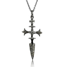 Perfect !! 925 Sterling Silver Diamond Cross Necklace