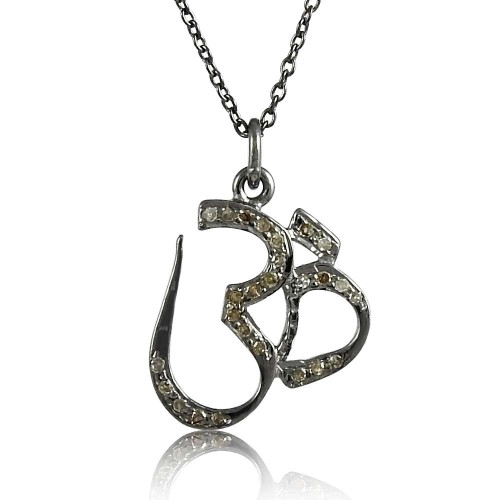 Beautiful OM 925 Sterling Silver Diamond Necklace