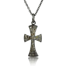 Stylish Cross 925 Sterling Silver Diamond Necklace