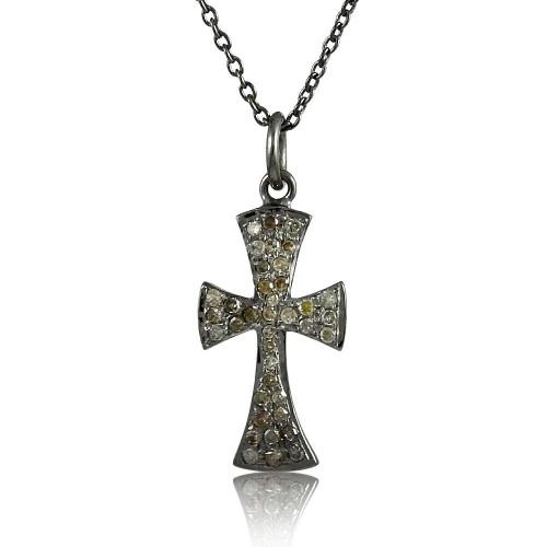 Stylish Cross 925 Sterling Silver Diamond Necklace