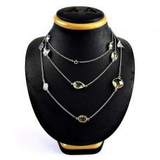 Pleasing 925 Sterling Silver Leman Topaz Amethyst Citrine Gemstone Necklace Jewelry