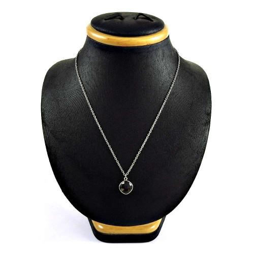 Amusable 925 Sterling Silver Smoky Quartz Gemstone Necklace Jewelry