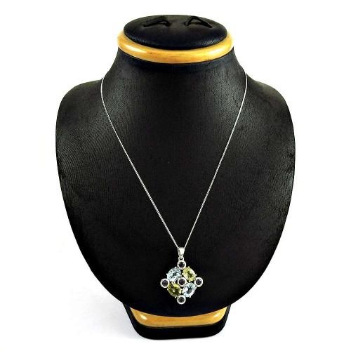 Daily Wear 925 Sterling Silver Blue Topaz Iolite Citrine Gemstone Necklace Jewelry