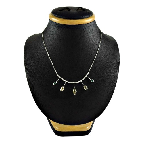 Daily Wear 925 Sterling Silver Citrine Green Onyx Gemstone Necklace Jewelry