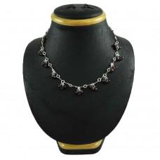 Party Wear 925 Sterling Silver Garnet Gemstone Beaded Necklace Ethnic Jewelry