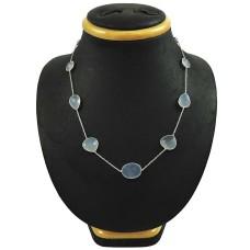 Beautiful 925 Sterling Silver Chalcedony Gemstone Necklace Handmade Jewelry C48