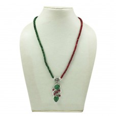 HANDMADE 925 Silver Jewelry Natural RUBY EMERALD Gemstone Beaded Necklace AF17