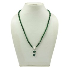 HANDMADE 925 Sterling Silver Jewelry Natural EMERALD Gemstone Beaded Necklace AG17