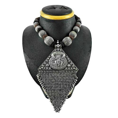 Oxidised Sterling Silver 925 Jewellery Beautiful Lord Krishana Thread Necklace Wholesale