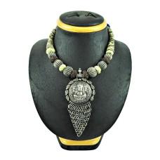 Oxidised Sterling Silver Fashion Jewellery Lord Ganesha Thread Necklace
