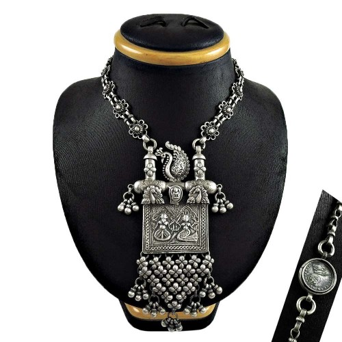 Indian Fashion Oxidized 925 Sterling Silver Antique Necklace Jewelry