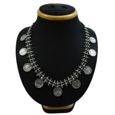 HANDMADE 925 Solid Sterling Silver Jewelry Oxidized Victoria Coin Necklace D10