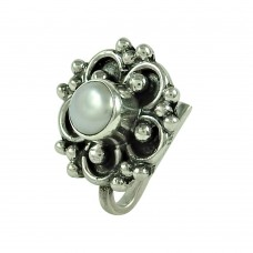 Daily Wear Pearl 925 Sterling Silver Nose Pin Indian Jewellery