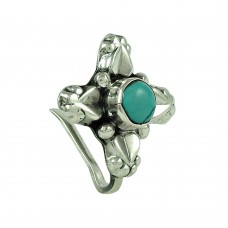 Charming Turquoise Gemstone 925 Sterling Silver Vintage Nose Pin Jewellery