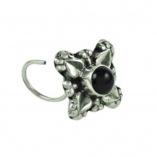 Fashion Black Onyx Gemstone 925 Sterling Silver Antique Nose Pin Indian Jewellery