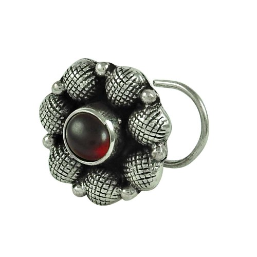 Pretty Garnet Gemstone 925 Sterling Silver Gemstone Nose Pin Jewellery