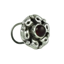Graceful Garnet Gemstone 925 Sterling Silver Nose Pin Indian Jewellery