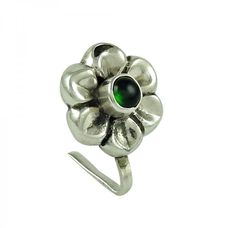 45858806fd3e1 Scrumptious Green Onyx Gemstone 925 Sterling Silver Nose Pin Jewellery