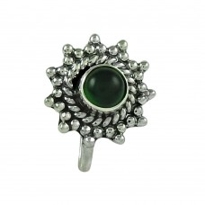 Well-Favoured Green Onyx Gemstone 925 Sterling Silver Nose Pin Jewellery