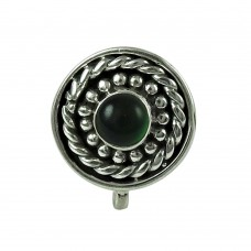 Excellent Green Onyx Gemstone 925 Sterling Silver Vintage Nose Pin Jewellery