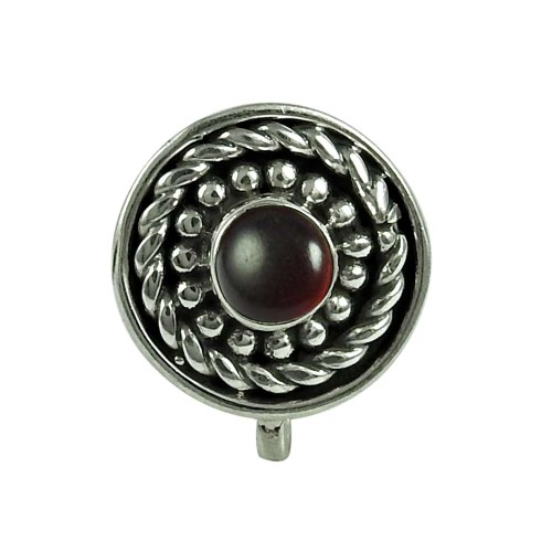 Beautiful Garnet Gemstone 925 Sterling Silver Nose Pin Handmade Jewellery