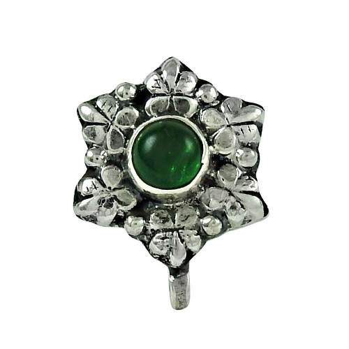 Daily Wear Green Onyx Gemstone 925 Sterling Silver Nose Pin Handmade Jewellery