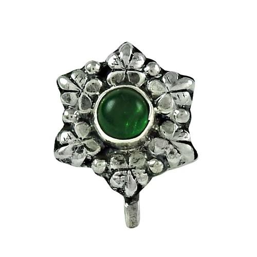 Daily Wear Green Onyx Gemstone 925 Sterling Silver Nose Pin Handmade Jewellery